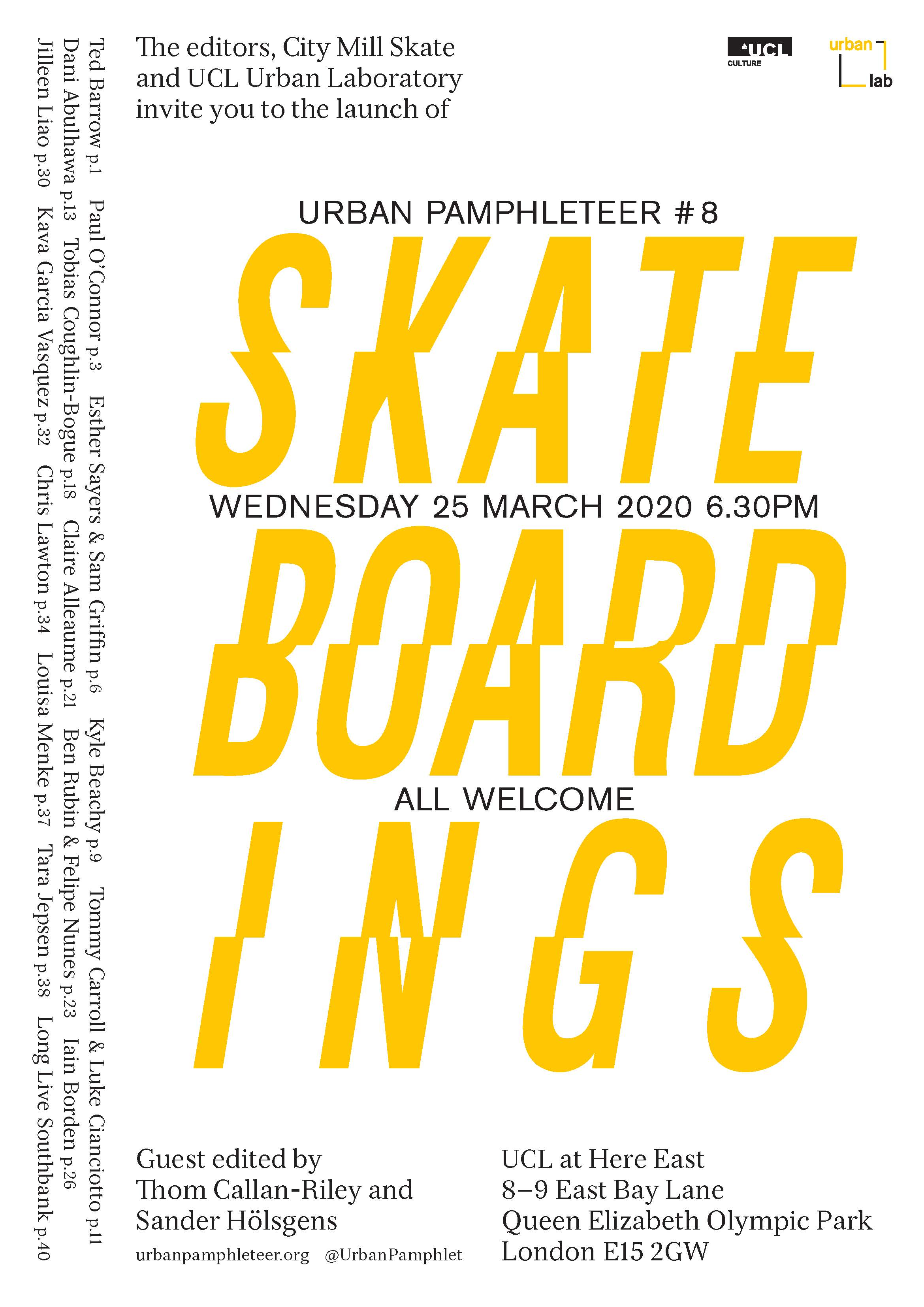 *POSTPONED* Urban Pamphleteer #8 launch: Skateboardings